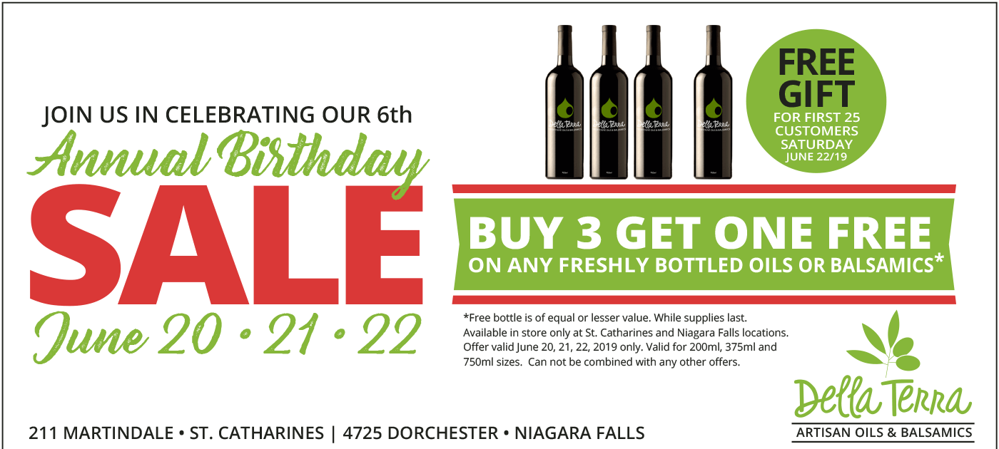 Join Della Terra Artisan Oils and Balsamics in celebrating their 6th Annual Birthday Sale! June 20-21-22