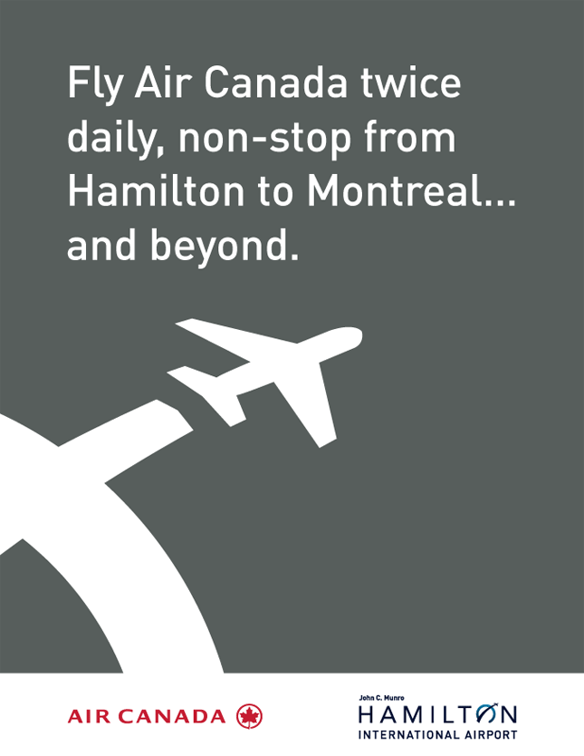 Fly Air Canada daily, twice, non-stop from Hamilton to Montreal