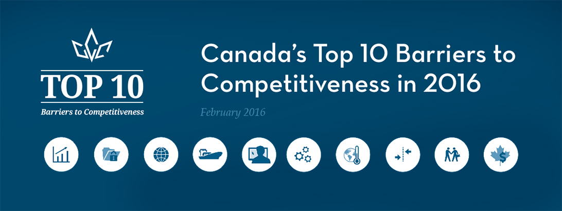 Canada's Top 10 Barriers to Competitiveness in 2016