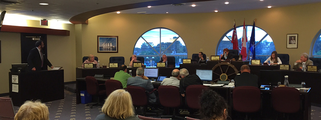 GNCC Policy & Government Relations Manager Hugo Chesshire (at far left) addresses Port Colborne City Council on June 13, 2016. Photo by Gail Todd.