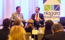 (left) Mike Watt of Walker Industries chats with Jeremy Amin, regional manager, global operations properties, GE Canada, as part of the fireside chat at the Niagara Economic Summit at White Oaks in Niagara-on-the-Lake on Thursday, October 27, 2016. Julie Jocsak/ St. Catharines Standard