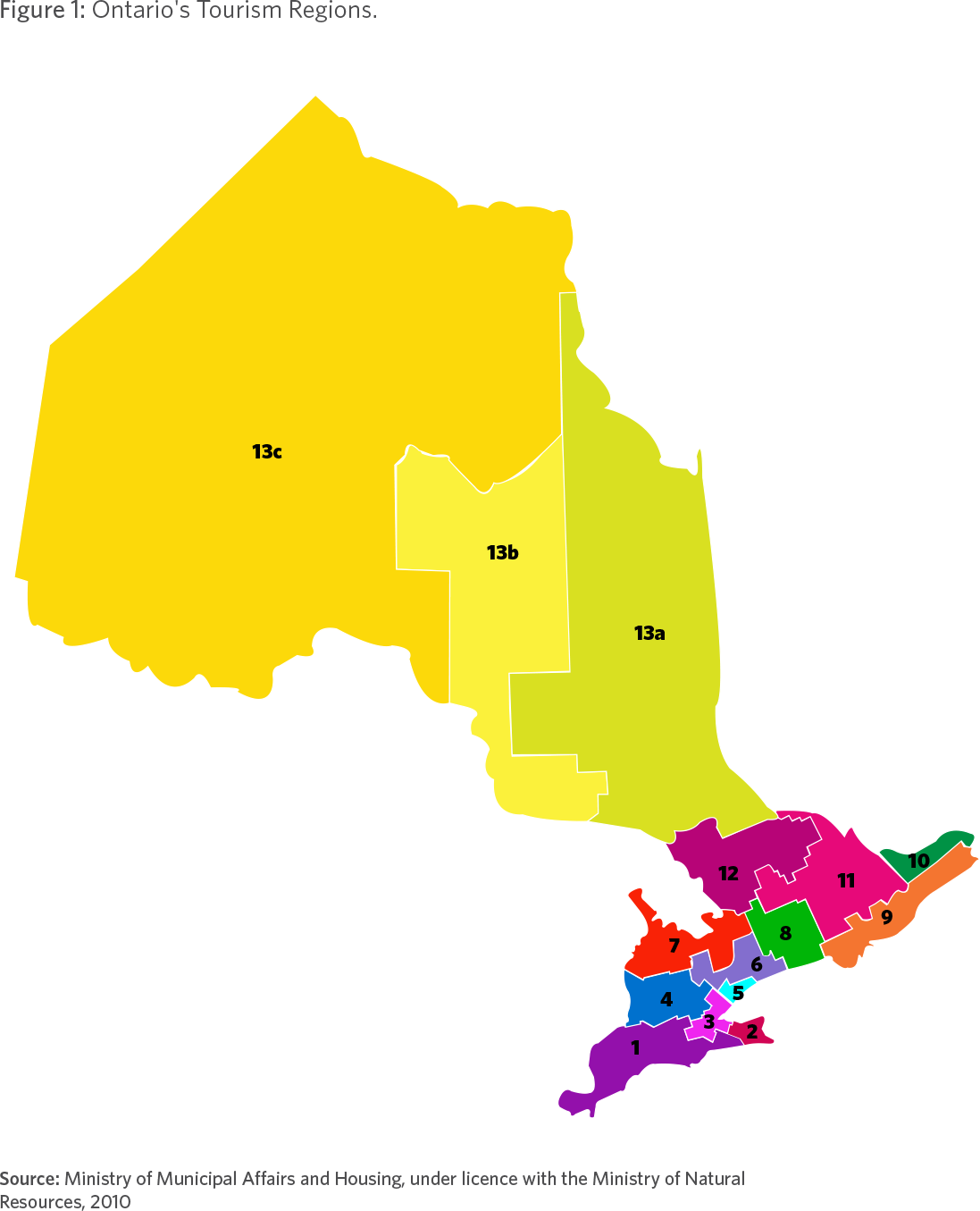 Figure 1: Ontario's Tourism Regions. Source: Ministry of Municipal Affairs and Housing, under licence with the Ministry of Natural Resources, 2010