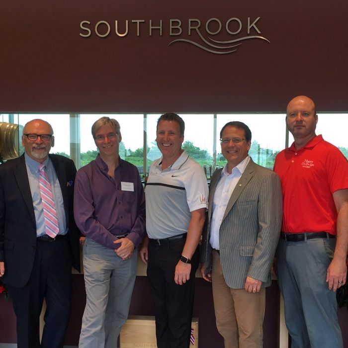 From Left to right: Southbrook Vineyards Proprietor Bill Redelmeier; Bruce Taylor, Enviro-Stewards; Kevin Hooieveld, The Violin Group; Mike Schreiner, Green Party of Ontario Leader; Brodie Mosher, Niagara-on-the-Lake Hydro