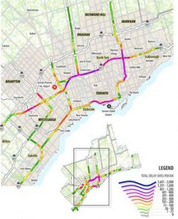 """Source: CPCS analysis of data provided by HERE and provincial/local departments of transportation. Results first published in the CAA's paper: """"Grinding to a Halt: Evaluating Canada's Worst Bottlenecks"""""""