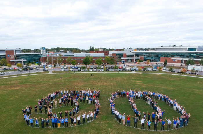 Staff, students, alumni, retirees and community guests gathered on the front lawn at the Welland Campus on October 4 to mark Niagara College's 50th anniversary.