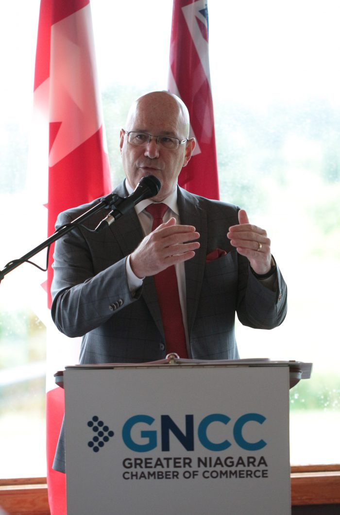 Ontario Minister of Municipal Affairs and Housing Steve Clark speaks at a Greater Niagara Chamber of Commerce breakfast Monday. - Brad Demers,Greater Niagara Chamber of Commerce