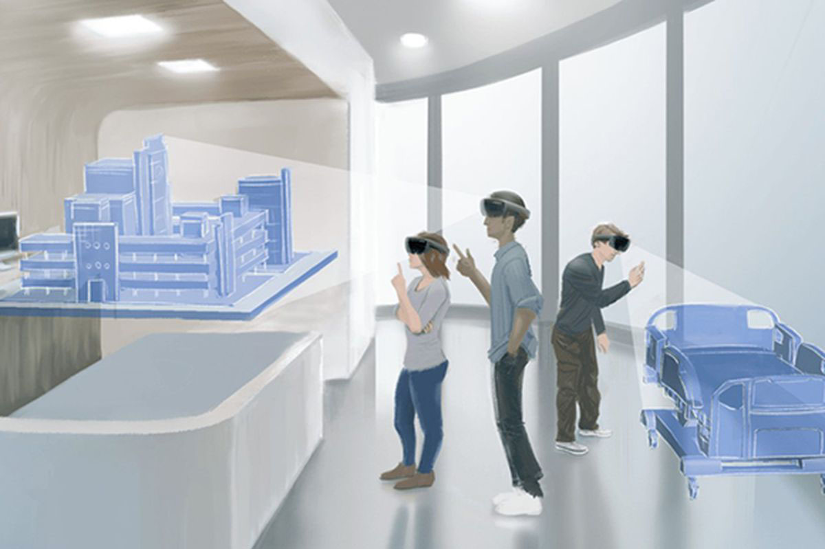 A drawing depicting Niagara Health staff on a mixed-reality simulation to help them in the planning process of the new hospital - demonstrating the impact of technology in improving patient care.
