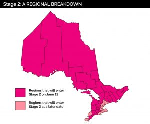Map of Ontario health units by re-opening stage